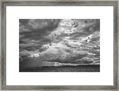 Tornado Clouds Over Lake Champlain Burlington Vermont Black And White Framed Print by Andy Gimino