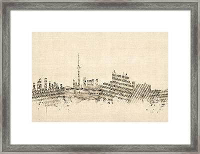 Toronto Canada Skyline Sheet Music Cityscape Framed Print by Michael Tompsett