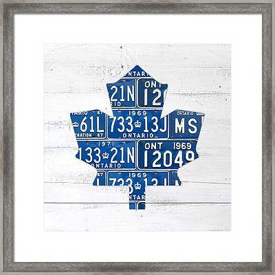 Toronto Maple Leafs Hockey Team Retro Logo Vintage Recycled Ontario Canada License Plate Art Framed Print by Design Turnpike