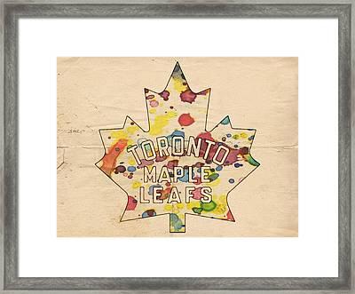 Toronto Maple Leafs Vintage Poster Framed Print by Florian Rodarte