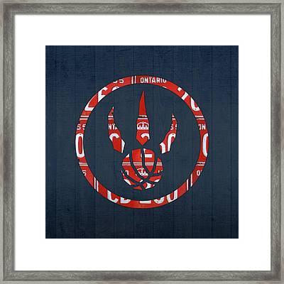 Toronto Raptors Basketball Team Retro Logo Vintage Recycled Ontario License Plate Art Framed Print by Design Turnpike