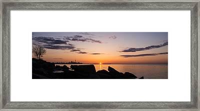 Toronto Skyline Panorama At Sunrise Framed Print by Georgia Mizuleva
