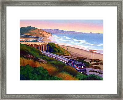Torrey Pines Commute Framed Print by Mary Helmreich