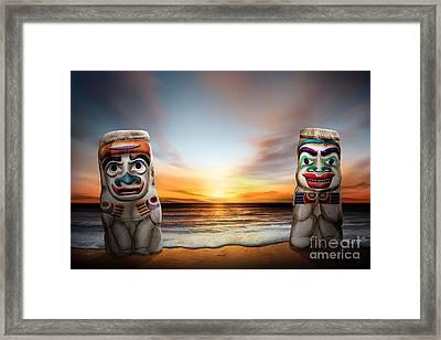 Totems At Sunset Framed Print by Bedros Awak