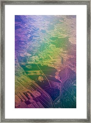 Touch Of Rainbow. Rainbow Earth Framed Print by Jenny Rainbow