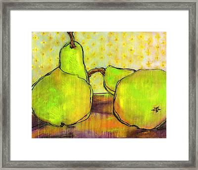 Touching Green Pears Art Framed Print by Blenda Studio