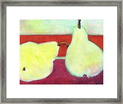 Touching Pears Art Painting Framed Print by Blenda Studio