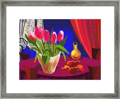 Toulips In The Night Framed Print by Olga Sheyn