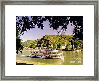 Tour Boat On The River Rhine Framed Print by John Malone