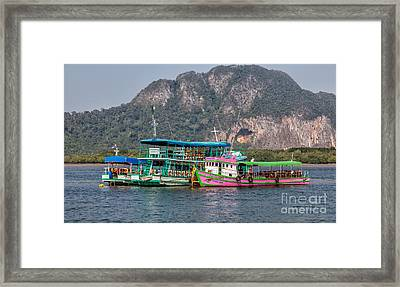 Tour Boats Framed Print by Adrian Evans