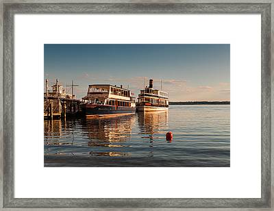 Tour Boats Lake Geneva Wi Framed Print by Steve Gadomski