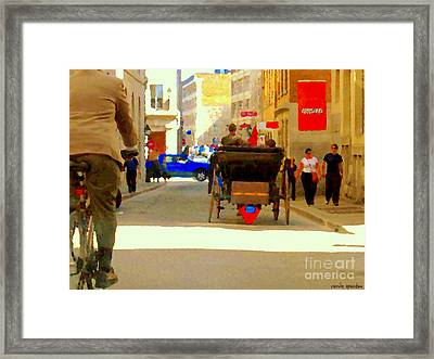 Touring Old Montreal Cyclist Caleche Cars Share Narrow Historic Youville Square City Scenes Cspandau Framed Print by Carole Spandau