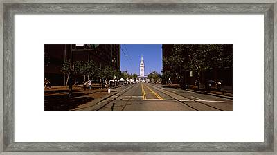 Tourists At A Market Place, Ferry Framed Print by Panoramic Images
