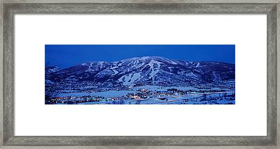 Tourists At A Ski Resort, Mt Werner Framed Print by Panoramic Images