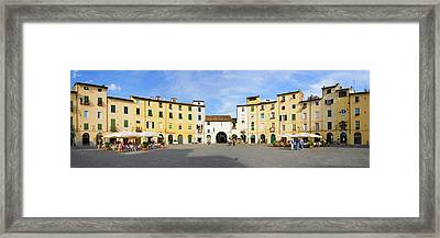 Tourists At A Town Square, Piazza Framed Print by Panoramic Images