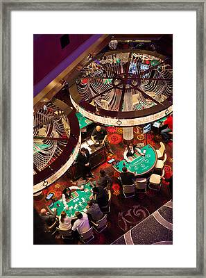Tourists At Blackjack Tables In Casino Framed Print by Panoramic Images