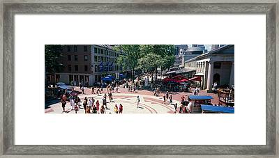 Tourists In A Market, Faneuil Hall Framed Print by Panoramic Images