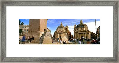 Tourists In Front Of Churches, Santa Framed Print by Panoramic Images