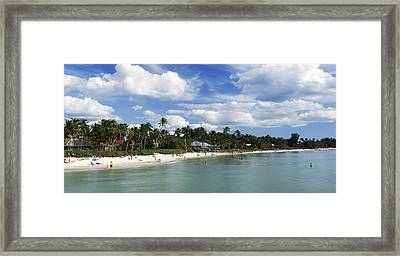 Tourists On The Beach, Naples, Gulf Framed Print by Panoramic Images
