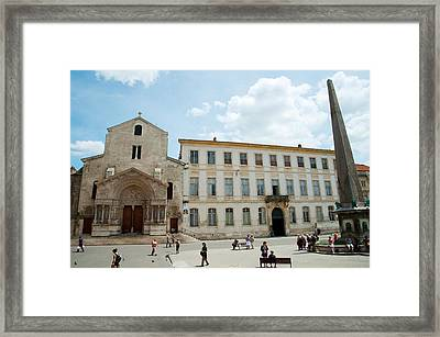 Tourists Outside The Church Of St Framed Print by Panoramic Images