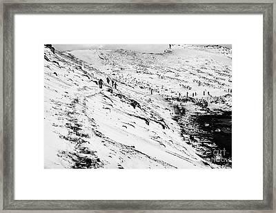 tourists walking along ridge at hannah point penguin colony Antarctica Framed Print by Joe Fox