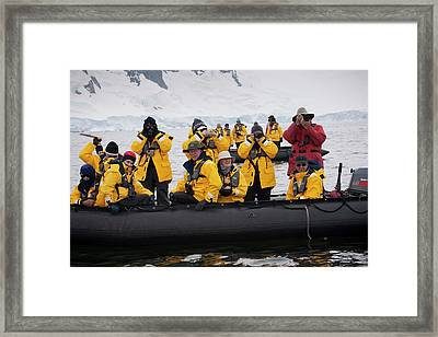 Tourists Whale-watching In Antarctica Framed Print by Peter Menzel