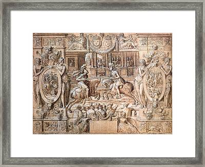 Tournament On The Occasion Of The Marriage Of Catherine De Medici 1519-89 And Henri II 1519-59 Framed Print by Antoine Caron