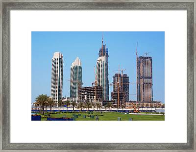 Tower Block Construction In Dubai Framed Print by Mark Williamson
