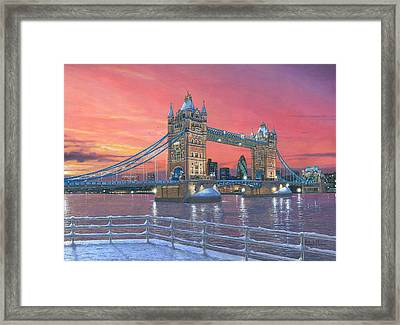 Tower Bridge After The Snow Framed Print by Richard Harpum