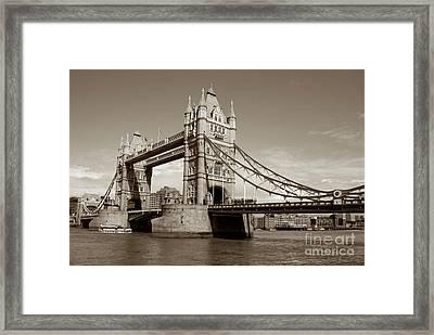 Tower Bridge - Sepia Framed Print by Heidi Hermes