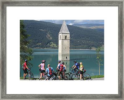 Framed Print featuring the photograph Tower In The Lake by Travel Pics