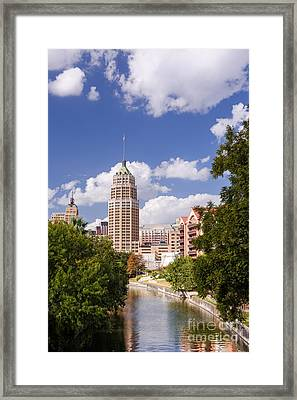 Tower Life Building San Antonio Skyline And Riverwalk - Texas Framed Print by Silvio Ligutti