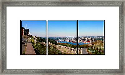 Tower Over The City Triptych Framed Print by Barbara Griffin