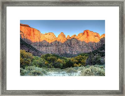 Towers Of The Virgin Sunrise In Zion National Park Framed Print by Pierre Leclerc Photography