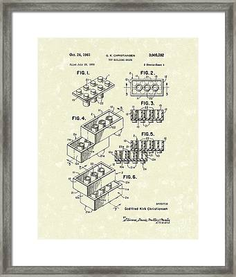 Toy Building Brick 1961 Patent Art Framed Print by Prior Art Design