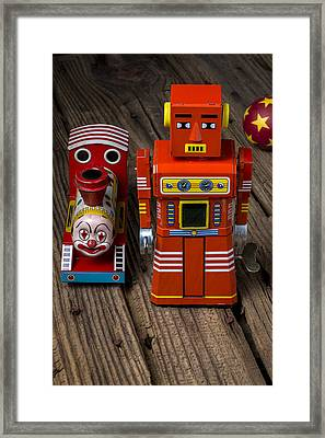Toy Robot And Train Framed Print by Garry Gay