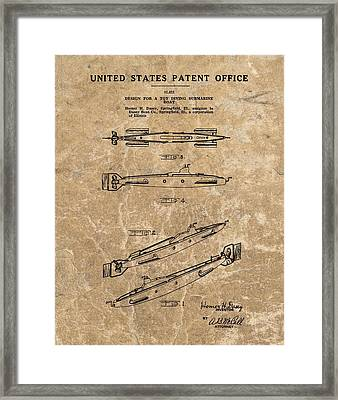 Toy Submarine Patent Framed Print by Dan Sproul