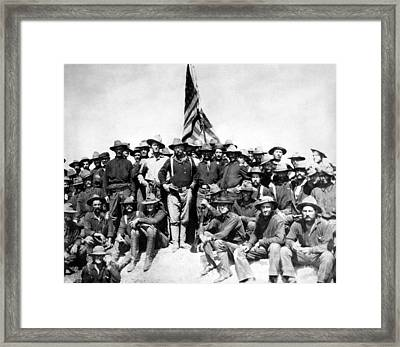 Tr And The Rough Riders Framed Print by War Is Hell Store