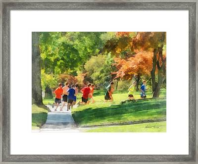 Track Team Framed Print by Susan Savad