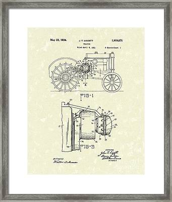 Tractor 1934 Patent Art Framed Print by Prior Art Design