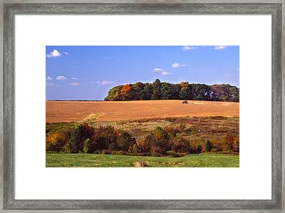 Tractor After The Harvest Framed Print by Jerry Tompkins