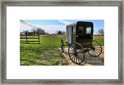 Traditional Amish Buggy Framed Print by Lee Dos Santos