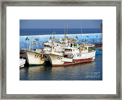 Traditional Chinese Fishing Boats Framed Print by Yali Shi