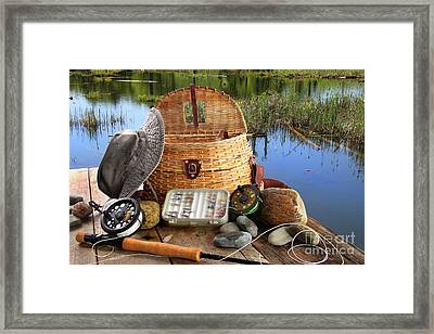 Traditional Fly-fishing Rod With Equipment  Framed Print by Sandra Cunningham