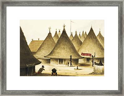 Traditional Native Village Circa 1840 Framed Print by Aged Pixel