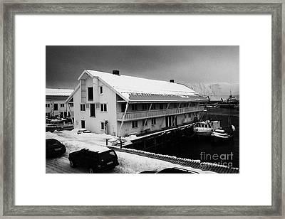 traditional wooden warehouse in Honningsvag harbour finnmark norway europe Framed Print by Joe Fox