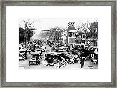 Traffic Control In Detroit Framed Print by Library Of Congress