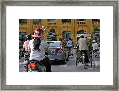 Traffic In Downtown Hanoi Framed Print by Sami Sarkis