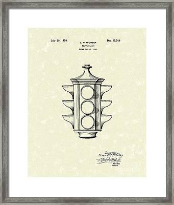 Traffic Light 1924 Patent Art Framed Print by Prior Art Design