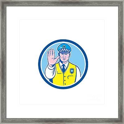 Traffic Policeman Hand Stop Sign Circle Cartoon Framed Print by Aloysius Patrimonio